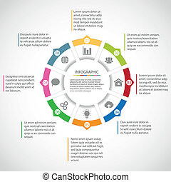 Circle infographic template - Circle simple infographic...