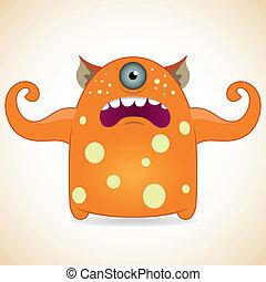 One-eyed orange monster - Cartoon funny one-eyed orange...