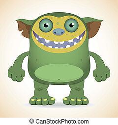 Smiling green monster - Cartoon funny smiling green monster
