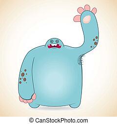 Roaring blue monster