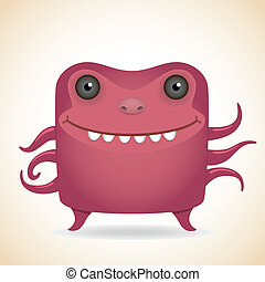 Red monster - Cartoon funny many-armed red monster