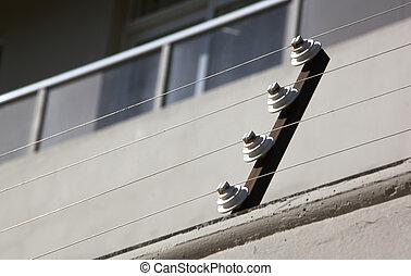 poleas, secundario, eléctrico, cerca, residencial,...
