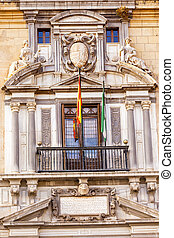 Old Ornate Spanish Government Building Spanish Crest Statues Flags Granada Andalusia Spain