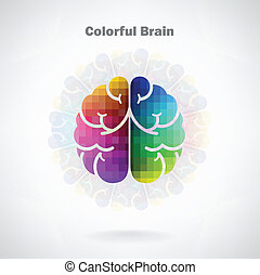 Creative colorful left and right brain Idea concept...
