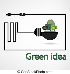 trees and green light bulb on  background