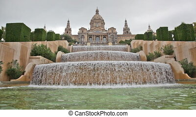 fountain on the square of Spain, before the national museum...