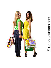 Two pretty women and bags