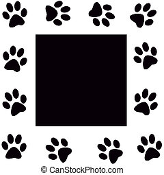 Paw print  - Animal paws  monochrome frame