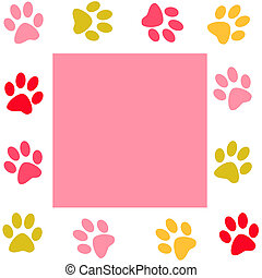 Paw print  - Animal paws  frame