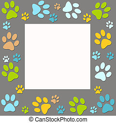 Animal paws   frame in grey, blue, yellow, green