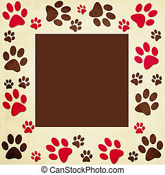 Animal paws   frame in beige, red,