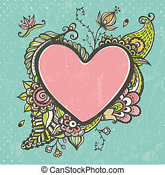 Floral doodle frame in the shape of heart