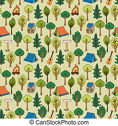 Camping and hiking background seamless pattern of tents in a...