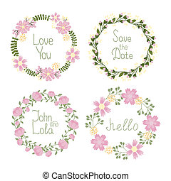Floral frame wreaths for wedding invitations - Vector Floral...