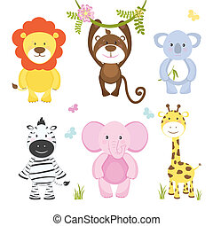 Set of cute vector cartoon wild animals with a monkey...
