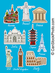 Set of vector travel landmarks icons of St Basils Cathedral...