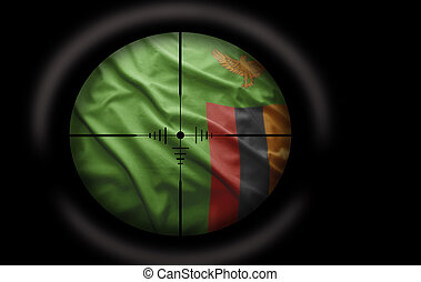 Zambian Target - Sniper scope aimed at the Zambian flag