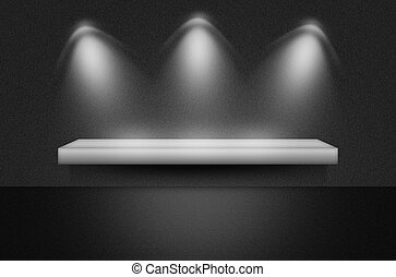 Black texture scene or background with spotlight and empty...