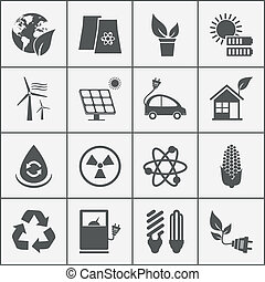 Set of eco energy icons with wind nuclear and solar power...
