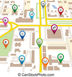 City map with pin pointers giving the location of various...