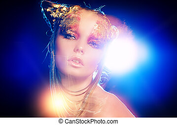diffuse - Art project: beautiful woman with golden make-up....
