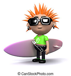 3d Punk with surfboard - 3d render of a punk carrying a...