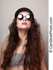 excitado, longo, cabelo, mulher, moda, sol, ÓCULOS,...
