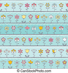 Baby blue background with cute flowers