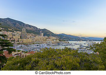Aerial view of Monaco at sunset