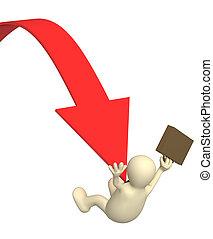 Bankruptcy - 3d businessman - puppet, sliding downwards on...