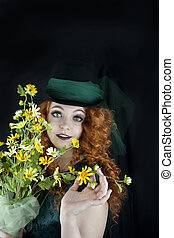 pretty young woman in top hat - beautiful young woman...
