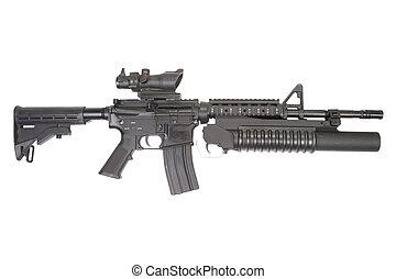 um, M4A1, carbine, equipado, M203, granada, lançador