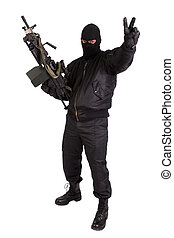 terrorista, máquina, arma de fuego, aislado