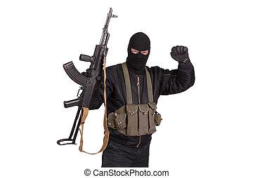 terrorist with kalashnikov isolated