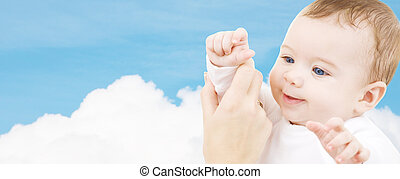 adorable baby boy - child, happiness and people concept -...