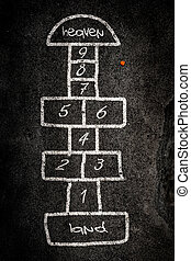 hopscotch - Hopscotch game designed on the road with chalk