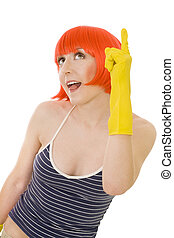woman in red wig and yellow gloves - woman with red hair and...