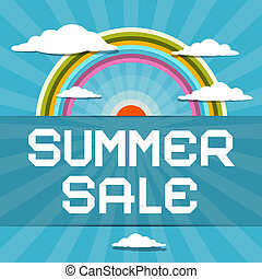 Summer Sale Retro Illustration with Rainbow, Clouds and Sun