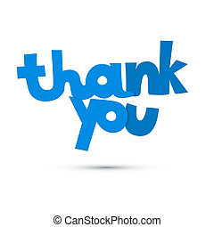 Thank You Blue Title Isolated on White Background