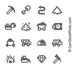 Mining icons - Simple set of digging and mining related...