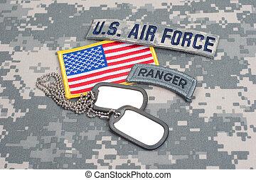 nós, exército, guarda-florestal, aba, em...