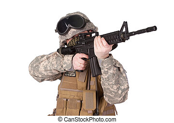 US ARMY soldier with m4 rifle