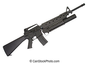 An M16A4 rifle equipped with an M203 grenade launcher