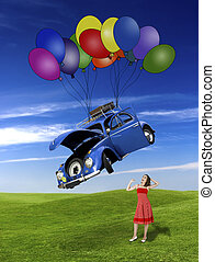 Falling form the sky - Woman witing for a beetle car falling...