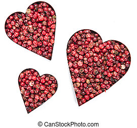 Pink Peppercorns Heart Shape (on white) - Pink Peppercorns...