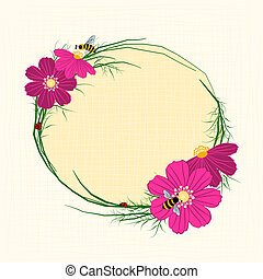 Springtime Cosmos Flower with Bees Background