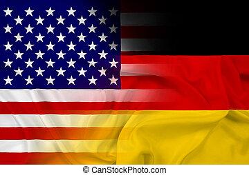 Waving USA and Germany Flag
