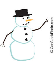 Print - A snowman design isolated on a white background