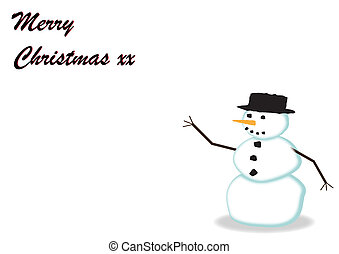 Print - A greeting card design with a snowman on a white...