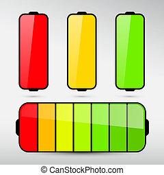 Battery Life Icon Set Isolated on Grey Background